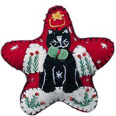 APPLIQUED FELT ORNAMENT - BLACK CAT ANGEL