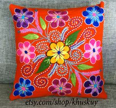 Peruvian Pillow covers Hand embroidered flowers 16 x 16 Sheep & alpaca wool handmade Tangerine Orange by khuskuy on Etsy Mexican Embroidery, Crewel Embroidery, Embroidery Patterns, Wool Pillows, Decorative Throw Pillows, Custom Pillows, Embroidered Towels, Embroidered Cushions, Peruvian Textiles