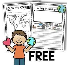 FREE Earth Day Activities and Printables - Writing Prompts - 7 Continents Map Activities, Earth Day Activities, Kindergarten Activities, Montessori Preschool, Church Activities, Children Activities, Preschool Curriculum, Science Classroom, Preschool Crafts
