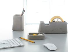 Architects' Concrete Obsession Transposed In Solid Desk Accessories: designed and hand-cast at Magnus Pettersen Studio
