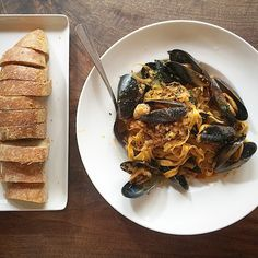 scratch made pasta with mussels, nduja sausage and fresh herbs ...so ...