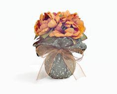 Fall Faux Floral Arrangement Small Tangerine by PillowsGaloreNMore