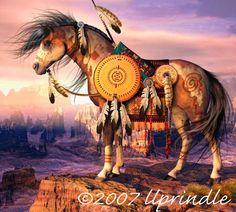 Horse Art Paintings | Fine Art Horse Prints by Cwrw: Medicine Horse