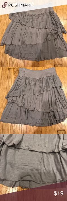 Banana republic tiered ruffle skirt Banana republic three tier ruffled skirt. Size zipper closure. Very cute and float skirt. Size 0. Banana republic Heritage line.  Color is kind of purple/gray. Banana Republic Skirts