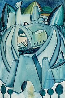 """Stronghold, by Portuguese painter Amadeo de Souza-Cardoso, Depecting a building structure, integrating various perspectives (""""bend reality""""), this picture somehow reminds me of the more recent work by Zaha Hadid. Corpus Christi, Modernisme, Georges Braque, Art Database, Art Institute Of Chicago, Sculpture, Great Artists, Les Oeuvres, Framed Artwork"""