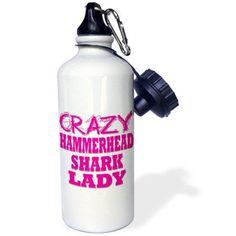 3dRose Crazy Hammerhead Shark Lady, Sports Water Bottle, 21oz