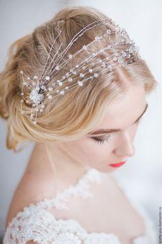 Купить Свадебный венок для волос. Украшение для невесты, веточка в прическу - голубой, украшение свадебное, в прическу