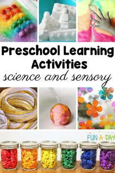 A roundup of the BEST Science and Sensory activities for preschool!! 10 hands-on learning activities that will engage the senses and spark curiosity! Science Activities For Kids, Preschool Learning Activities, Preschool Science, Science Experiments Kids, Toddler Learning, Sensory Activities, Toddler Fun, Sensory Bins, Preschool Teacher Tips