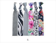 Assorted Prints Knotted Hair Ties - C - Ultra comfortable hair ties in beautiful modern prints. #janetran #hairties #ponytails