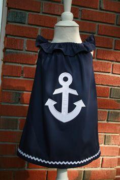 Sweet little Girl's Anchor Dress. Size 5. $30.00, via Etsy.