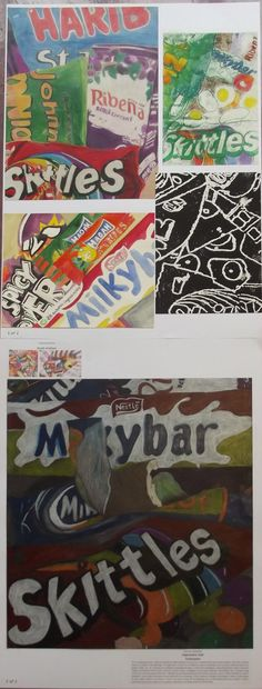 s4 national 5 expressive folio, still life - junk food theme