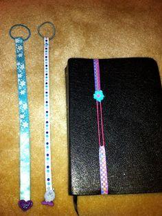 boekenlegger met haarelastiek en lint - ribbon bookmark (English tutorial)