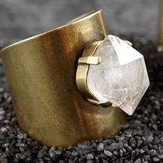 El crudo HERKIMER escudo gran anillo de por ChristinaRoseJewelry