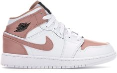 Buy and sell authentic Jordan 1 Mid White Rose Gold (GS) shoes and thousands of other Jordan sneakers with price data and release dates. Women's Shoes, Nike Air Shoes, Hype Shoes, Shoes Sneakers, Flat Shoes, Adidas Shoes, Jordan Shoes Girls, Girls Shoes, Nike Jordan Shoes