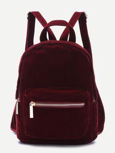 SheIn Designer Backpack Girls Backpacks for Teenage Girls Fashion Backpack Burgundy Pocket Front Double Handle Velvet Backpack Cute Mini Backpacks, Brown Backpacks, Girl Backpacks, Backpack Purse, Leather Backpack, Backpack Online, Fashion Bags, Fashion Backpack, Women's Fashion