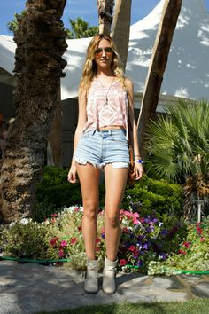 Coachella Fashion! 60+ Rockin' Style Snaps #refinery29  http://www.refinery29.com/2011-coachella-fashion-street-style-at-coachella#slide47  Leg Up—Super-short cut-offs and a midriff-baring top will definitely keep you cool on the fairgrounds.