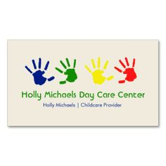 Daycare / Babysitter Handprints Business Cards by Jill's Paperie