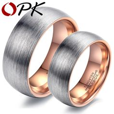 (Pack of 2) OPK Brand Couple Rings Tungsten Steel Wedding Engagement Band Men Women Promise Jewelry Top Quality Never Fade,WJ247