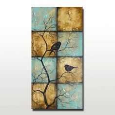 Large Vertical Painting of Birds on Tree Branches by BrittsFineArt, $540.00