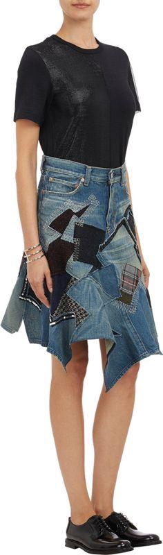 Junya Watanabe Mixed Patchwork Denim Skirt at Barneys.com
