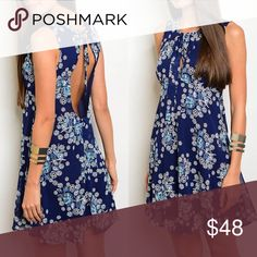 Coming! Navy & Whit Floral Dress Keyhole Open Back Navy & Whit Floral Dress Keyhole Open Back. Made in USA. Fabric 100% polyester. Features Keyhole front and back, Boho Flowy Fit. No Trades. Price is Firm Unless Bundled. GlamVault Dresses