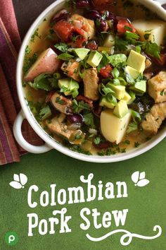 Enjoy Latin flavors with Publix Aprons Colombian Pork Stew. Side Dish Recipes, Pork Recipes, Easy Dinner Recipes, Cooking Recipes, Healthy Recipes, Recipies, Publix Aprons Recipes, Pork Soup, Frijoles