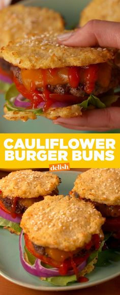 Check out the buns on this low carb burger. Get the recipe from Delish.com.