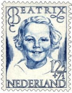 stamp of Queen Beatrix at a young age  Have S design a stamp and then write to explain it.