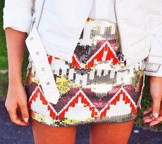 SEQUIN tribal mini skirt....say what?!