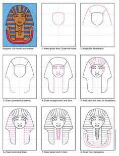King Tut how to draw instructions. Colored in with oil pastels. Great for ancient Egyptian history.