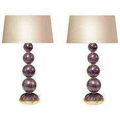 Pair of Amethyst Rock Crystal Lamps