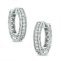1/4 CT. T.W. Diamond Vintage-Style Huggie Hoop Earrings in 10K White Gold