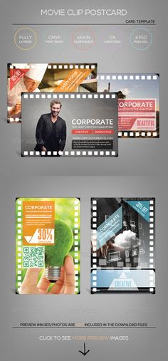 Multipurpose Movie Clip  Postcard Template — Photoshop PSD #salon #spa • Available here → https://graphicriver.net/item/multipurpose-movie-clip-postcard-template/5268971?ref=pxcr