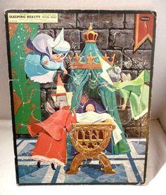 Vintage Walt Disney Sleeping Beauty Picture Puzzle Frame Tray Whitman 1958 #Whitman