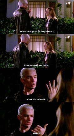"one of my favorite scenes ever! ""Out for a walk...bitch"" - Spike #buffythevampireslayer #spike #buffy"