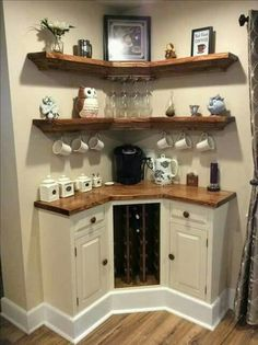Here are 30 brilliant coffee station ideas for creating a little coffee corner that will help you decorate your home. See more ideas about Coffee corner kitchen, Home coffee bars and Kitchen bar decor, Rustic Coffee Bar. Sweet Home, Diy Casa, Home Coffee Stations, New Kitchen, Kitchen Small, Kitchen Nook, Kitchen Pantry, Small Sink, Kitchen Cabinets