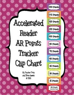 Accelerated Reader (AR) Points Goal Tracker Clip Chart - Instead of doing points I would track it by %....makes it equal to all students.