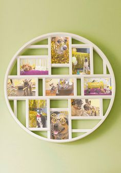 Round Here Photo Frame in White. Every visitor to your home or office can stay in the loop on your personal life, if they only take a peek at this bold whitemulti-photo frame! #gold #prom #modcloth