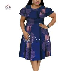 Image of New Bazin Riche African Ruffles Collar Dresses for Women Dashiki Print Pearls Dresses Vestidos Women African Clothing African Dresses Plus Size, African Party Dresses, Short African Dresses, Latest African Fashion Dresses, African Print Dresses, African Print Fashion, Ankara Fashion, Africa Fashion, African Prints