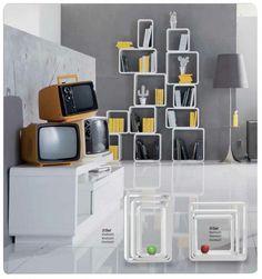 Lounge cubus wit (3/set)  Lounge wand- Kubus  Retro Design meubels ...