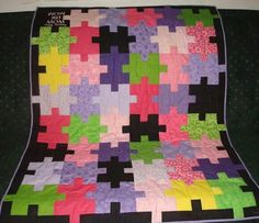 Jigsaw puzzle quilt pattern ~ this would make a nice Autism Quilt Quilting Projects, Quilting Designs, Sewing Projects, Quilting Ideas, Sewing Ideas, Quilt Design, Puzzle Quilt, Quilt Blocks, 24 Blocks