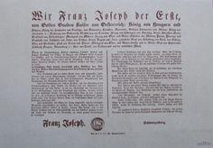 THRONBESTEIGUNG KAISER FRANZ JOSEPH I. Maueranschlag Faksimile