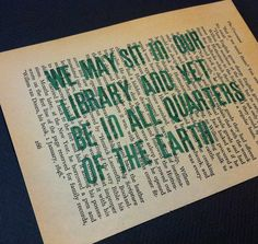 We May Sit in Our Library Stamped 5x7 Quote Print on Book page