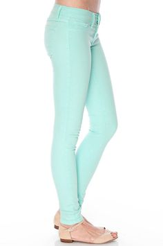 """Mint Skinny Jeans. Size 14 AUS. Cut and hemmed to fit my 5""""4 height (too much length at the bottom when I bought them). Size 14 AUS. Too big for me, which is a shame because I love the colour."""