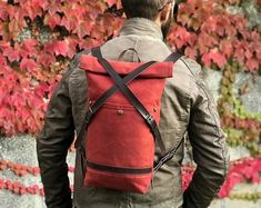 Convertible city backpack Crossbody bag Red & black waterproof canvas bag Chic women bag Stylish lightweight bag Unique gift for her Lightweight Backpack, Unique Gifts For Her, Day Bag, Great Love, Sling Backpack, Convertible, Messenger Bag, Crossbody Bag, One Shoulder