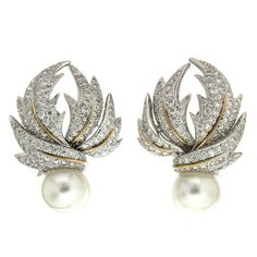 Pave Multi-Leaf Earrings with Pearls | From a unique collection of vintage clip-on earrings at https://www.1stdibs.com/jewelry/earrings/clip-on-earrings/