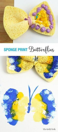 Sponge Butterfly Printing Sponge Butterfly Printing Create Colourful Simple Butterfly Prints Using A Sponge And Hair Elastic Create Gorgeous Colourful Butterfly Prints Using A Kitchen Sponge Preschool Crafts, Fun Crafts, Crafts For Kids, Arts And Crafts, Stick Crafts, Resin Crafts, Toddler Art, Toddler Crafts, Toddler Activities