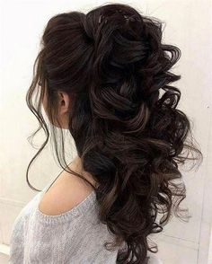 Half up half down hairstyles - partial updo wedding hairstyle is a great options for the modern bride from flowy bohemian to clean contemporary & elegant cute bridal hair styles Elegant Wedding Hair, Wedding Hair Down, Wedding Hair And Makeup, Trendy Wedding, Wedding Updo, Wedding 2017, Boho Wedding, Rustic Wedding, Prom Hair Updo Elegant