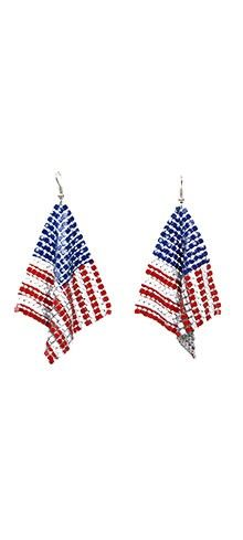 Red, White & Blue Old Glory Mesh Triangle Hook Earrings