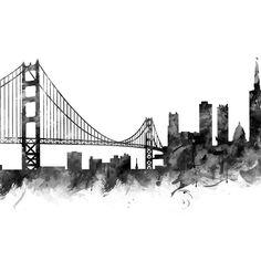 San Francisco Skyline #sanfrancisco #usa #city #skyline #landscape #cityscape #acrylic #blocks #decor #home #office #blackandwhite #art #prints